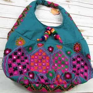 Expressions NYC Embroidered Sequined BOHO Hobo Bag
